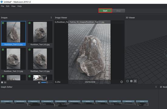 Meshroom add images and about to start the reconstruction process