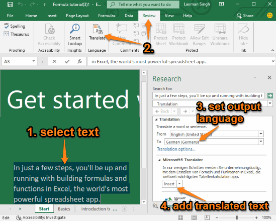 Microsoft Excel translate feature