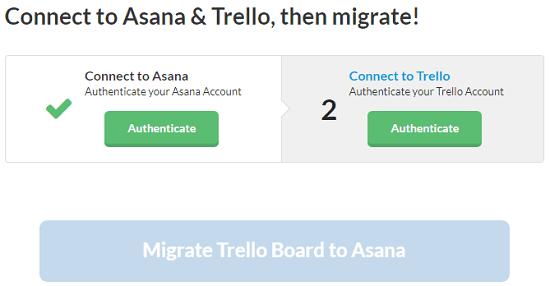 Migrator connect Asana Trello accounts