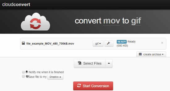 Online MOV to GIF converter