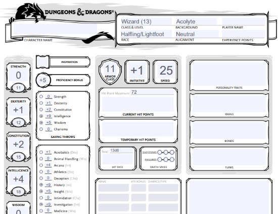 Online character sheet Generator