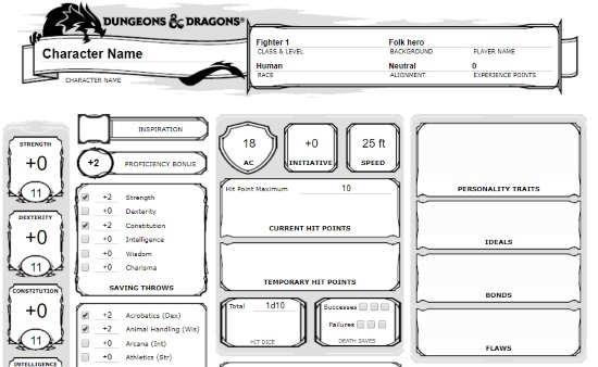 Online Character Sheet Generator Websites Free
