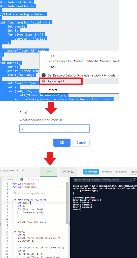 Repl.it chrome extension in action