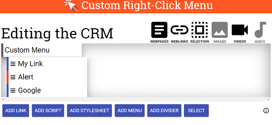 Right click menu tweaker for Chrome