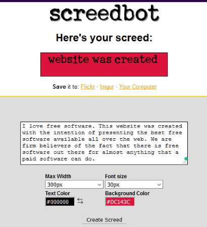 Screedbot- interface