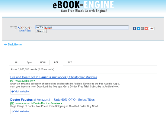 Search engine for ebooks