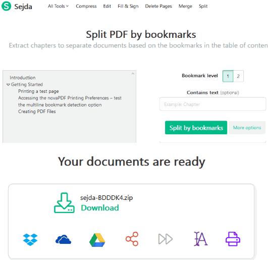Sejda split pdf by bookmarks