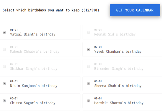 Select birthdays to add in calendar