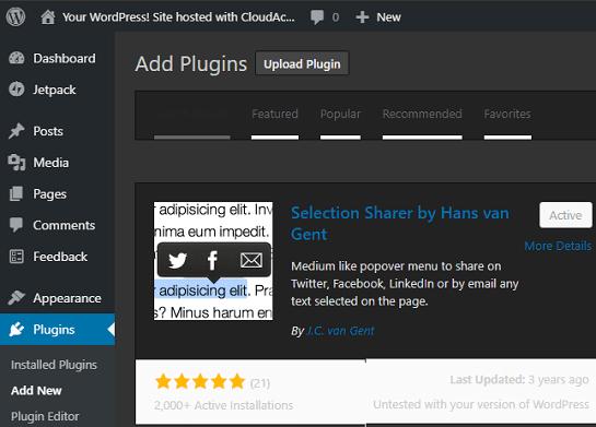 Selection Sharer WordPres pluggin