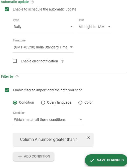 Sheetgo advanced options