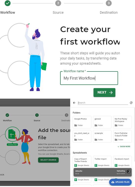 Sheetgo sign up and setup workflow