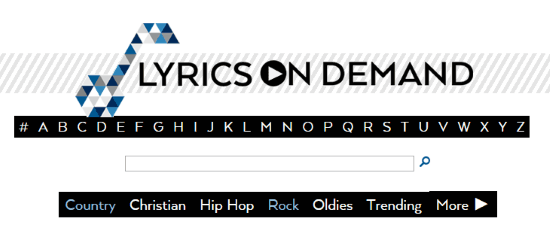 Song lyrics search engine