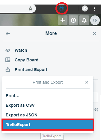 Trello export in action