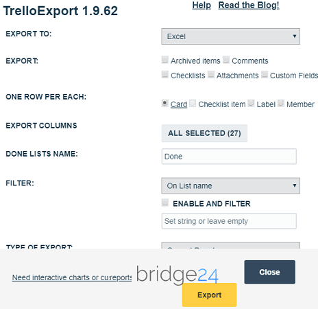 TrelloExport options