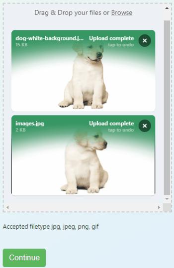 Upload image file to trim