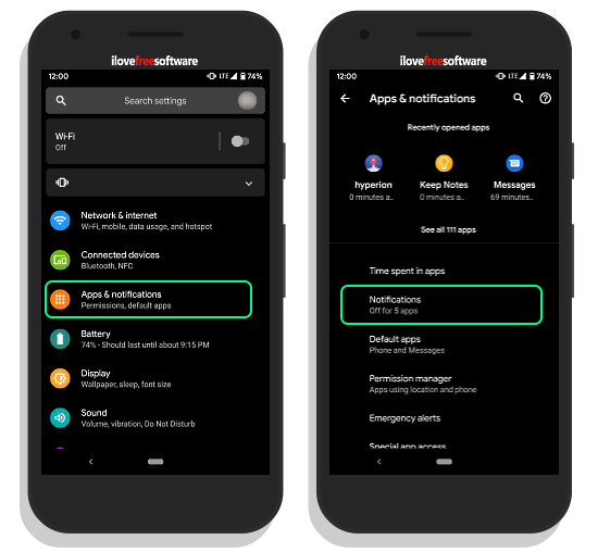 change notification swipe direction in android q