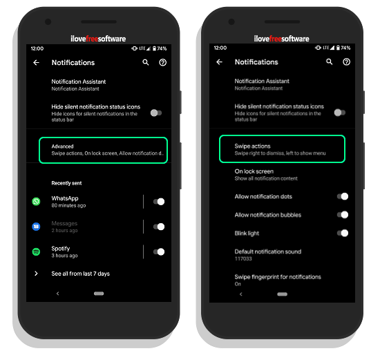 change notification swipe direction to right in android q