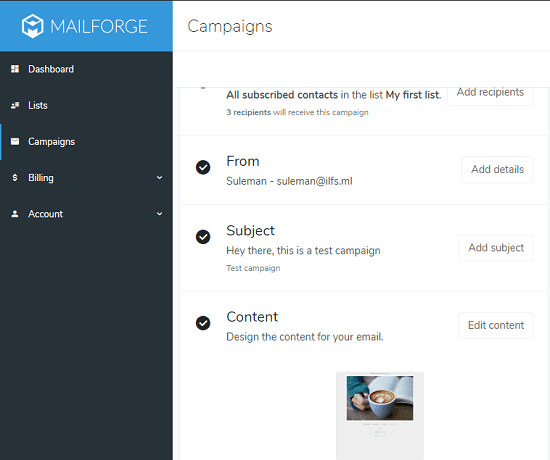 email campaign mailforge