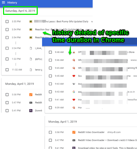 history deleted of specific time duration in chrome