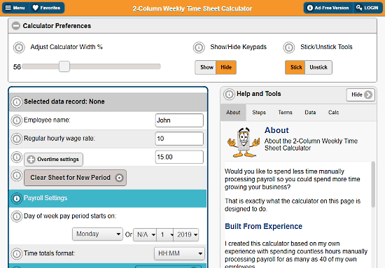 free online timesheet calculator with overtime