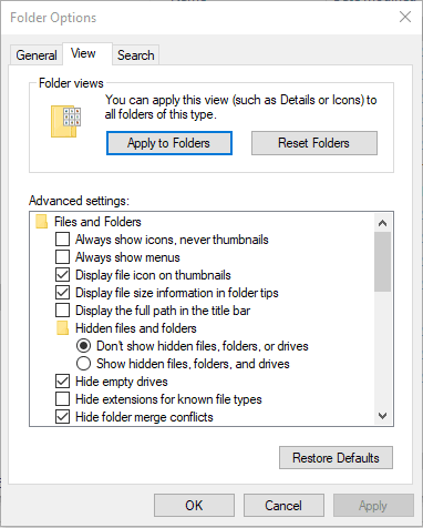 use apply to folders button