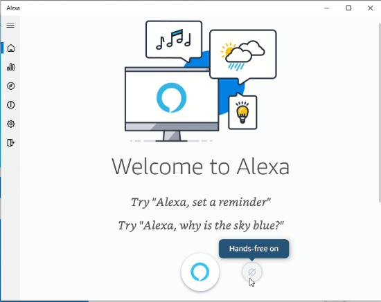 Alexa interface with hands-free on feature