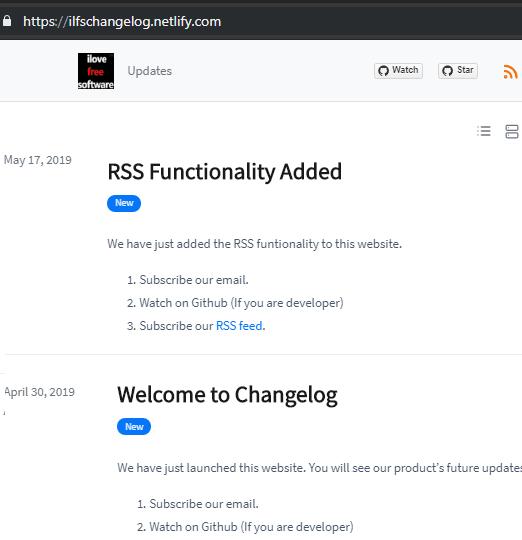 Changelog final site
