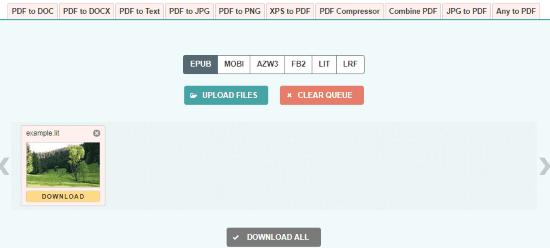 Convert LIT to EPUB Online