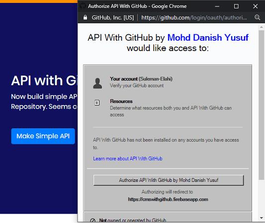 Create account API with GitHub