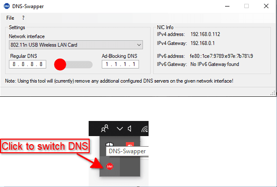 DNS Swapper in action