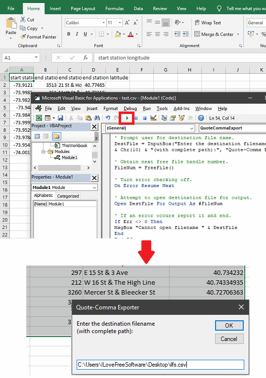 Excel Run VBA Quote to Add Double Quotes