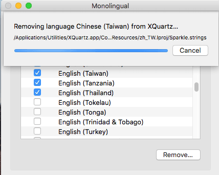 Free macOS app to Remove Language Localization Files