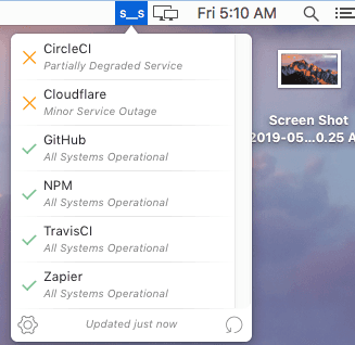 Free macOS menu bar app for developers to see status of popular services