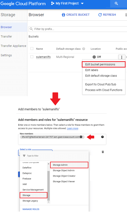 GCP give permissions