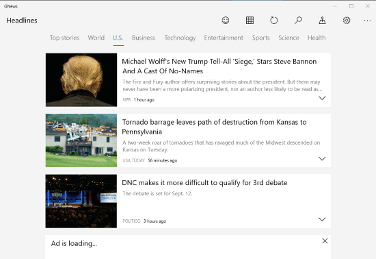 GNews windows 10 app interface