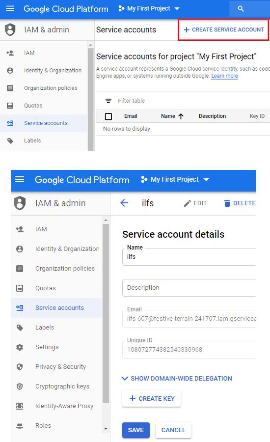 Google Cloud Platform create servcie account