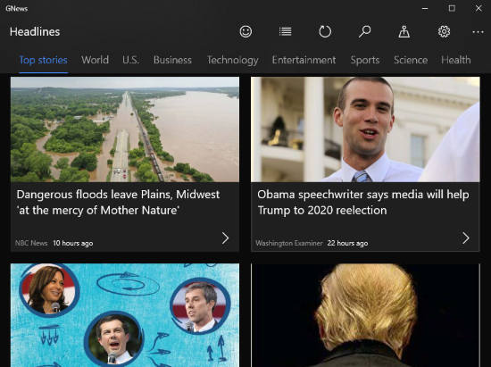 Google News with grid view and dark mode