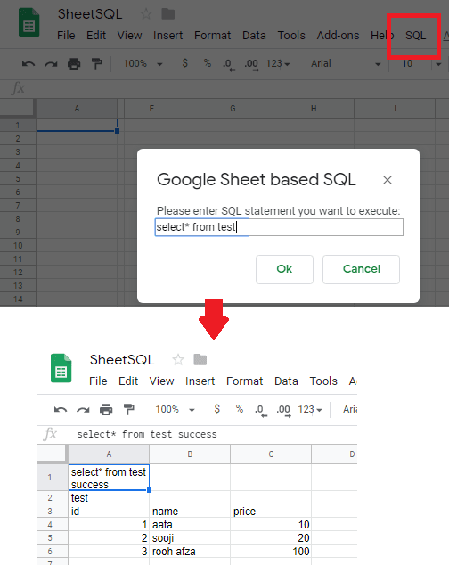 Google Sheet query via prompt