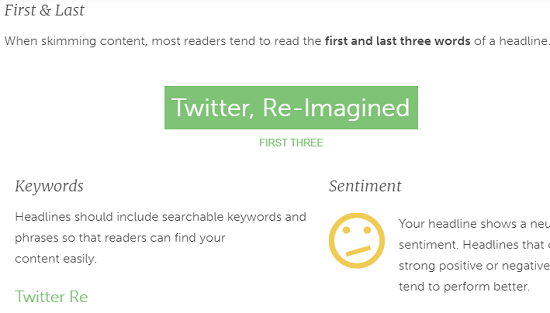Headlines analyzer with sentiment analysis, Google search preview