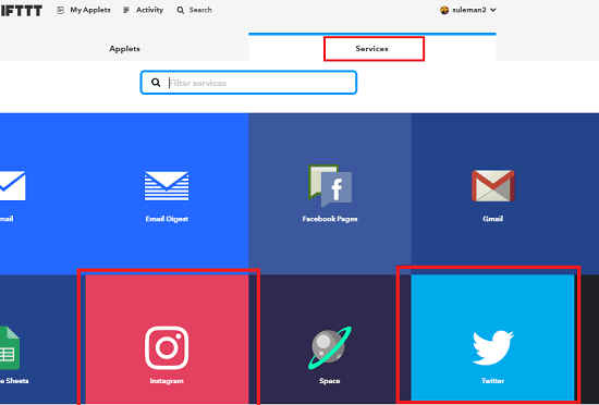 IFTTT services enable
