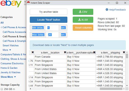 Instant Data Scraper ebay listing scraper