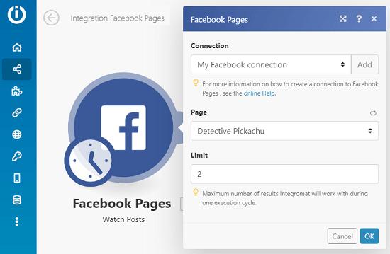 Integromat Facebook Connection