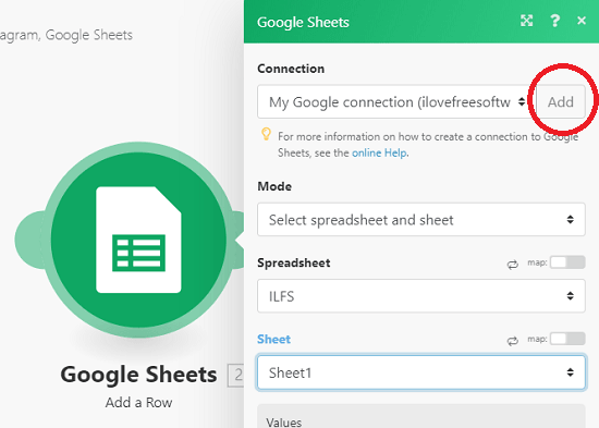 Integromat Google Sheet connection