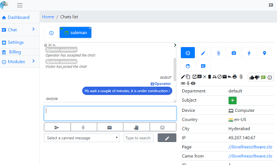 Live Helper Chat Dashboard
