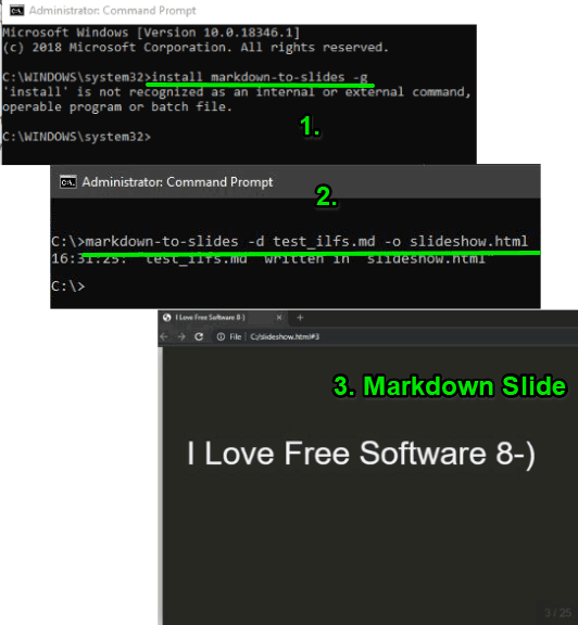 Markdown-to-slides command line software