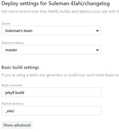 Netlify deploy settings