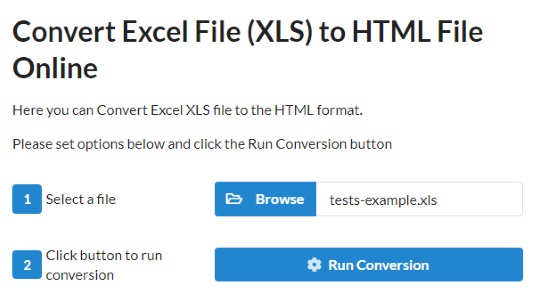 Online Excel to HTML converter