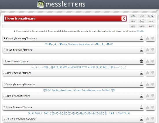 Online Instagram font generator