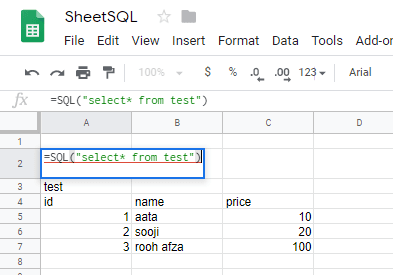 SQL statements by formula