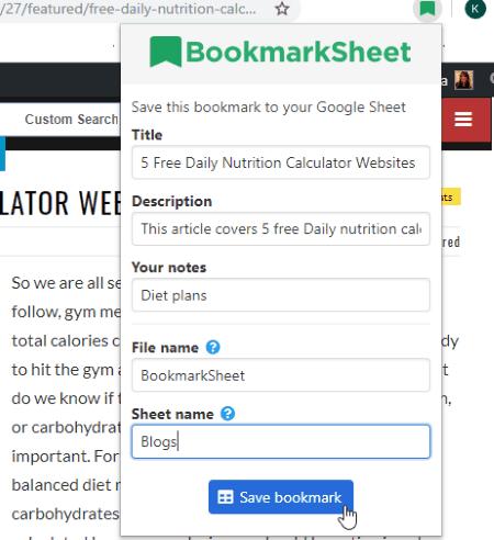 Save bookmark and add description